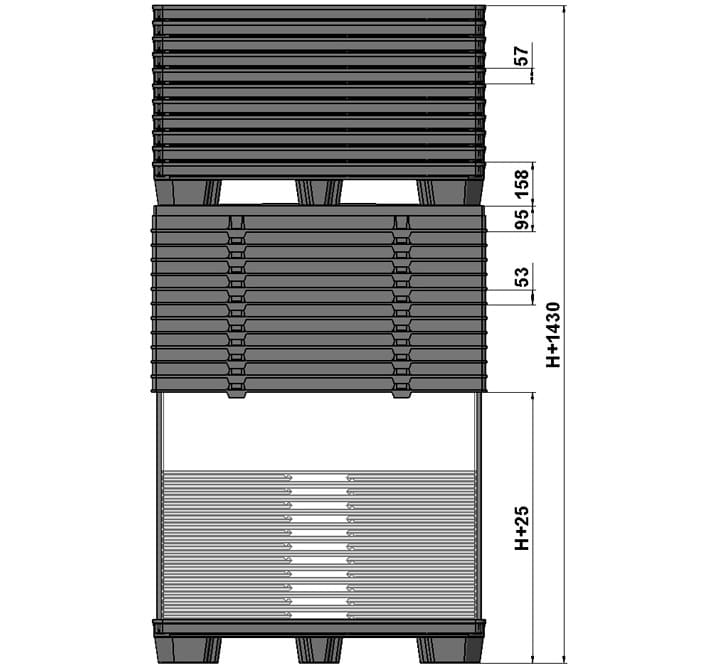 CONTAINER BOX TP 1200x800 or 1200x1000 9 feet or 3 runners standar return system