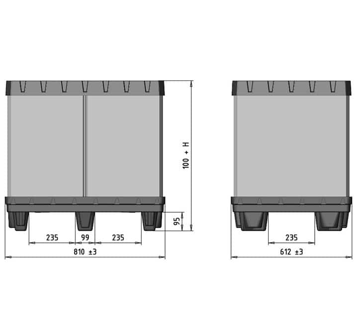 Plastic container BOX TP 800x600mm size drawing