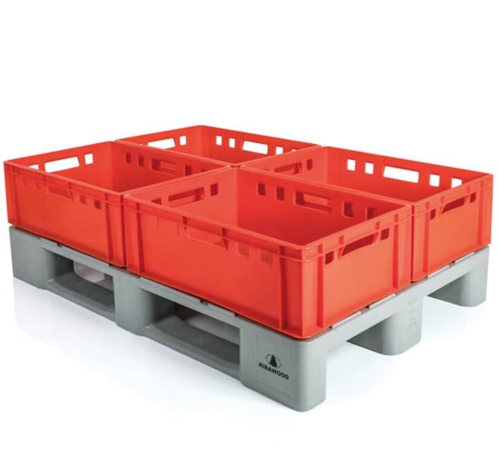 H1 type pallets with E2 crates l meat sector