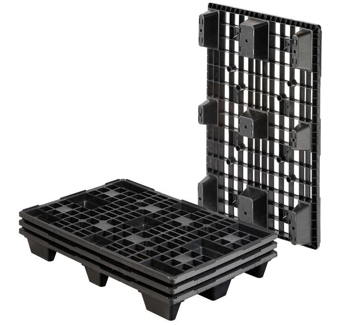 Palet de plástico one way-encajable. REP 1200x800 9PIES PERFORADO. Pallet negro