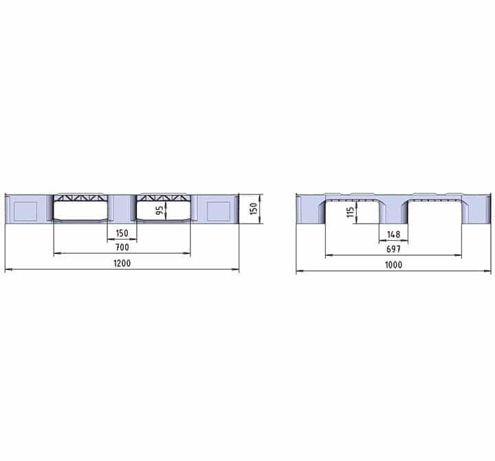 RMP 1200x1000 2R or 3R CLOSED DECK drawing