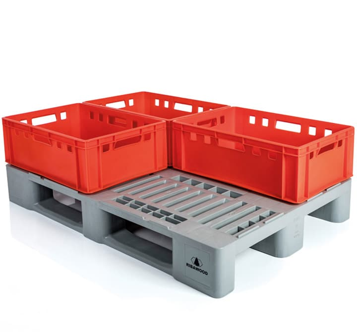 H1 type pallets with E2 crates l meat sector pallet detail