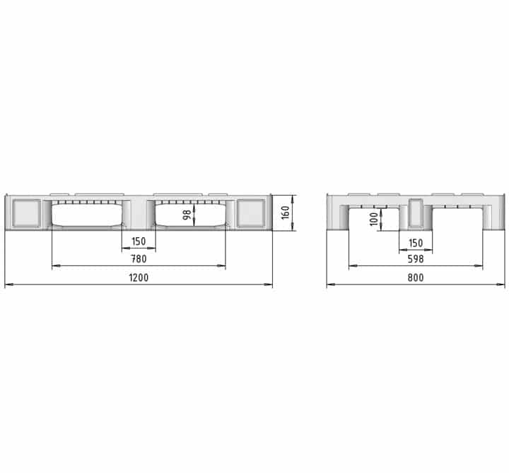 H1 type pallet 1200x800 3R OPEN DECK drawing