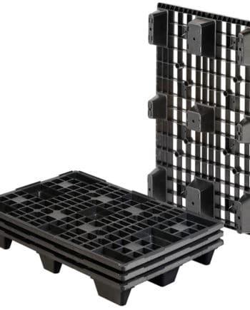 Palet de plástico REP encajable. REP 1200x800 9 PIES PERFORADO. Pallet negro