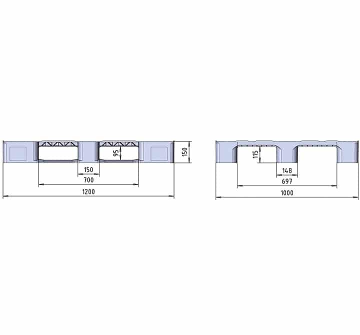 RMP 1200x1000 2R or 3R OPEN DECK drawing